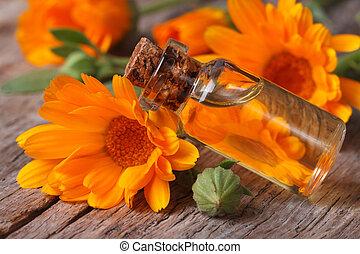 オイル, 古い, ガラスビン, calendula, テーブル, 横