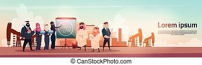 オイル, 富, ビジネス, 取引しなさい, アラビア人, プラットホーム, 概念, 黒, 豊富, 用具一式, pumpjack, 人