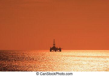 オイル, 日没, の間, 用具一式, caspian, 沖合いに, 海