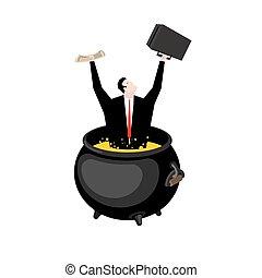 オイル, 暑い, hellish, cauldron., マネージャー, hell., boiler., sinner, 上司, ビジネスマン