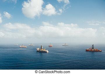 オイル, 沖合いに, ガス, drillships