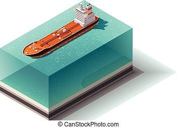 オイル, 船, ベクトル, 等大, タンカー