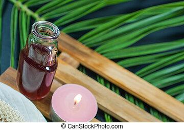 オイル, 葉, びん, 蝋燭, -, 香り, 花, やし, 背景, エステ, 必要, seting