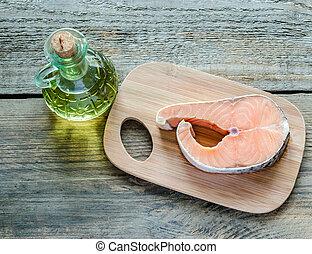 オイル, 食物, 鮭, -, 脂, 不飽和