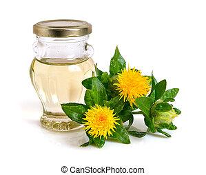 オイル, bottle., 植物, ベニバナ