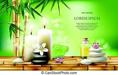オイル, candles., 処置, イラスト, ベクトル, 芳香がする, エステ, 塩, マッサージ