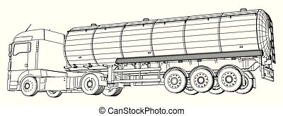 オイル, driving., 作成される, 非常に, ガソリン, wire-frame, 速い, highway., トラック, イラスト, 3d., トレーラー, タンカー