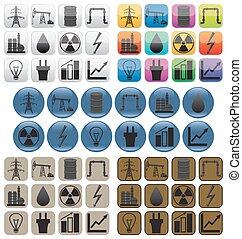 オイル, icons., gas.