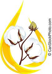 オイル, illustration., oil., 低下, 内側。, 定型, ベクトル, 小枝, 種, 綿