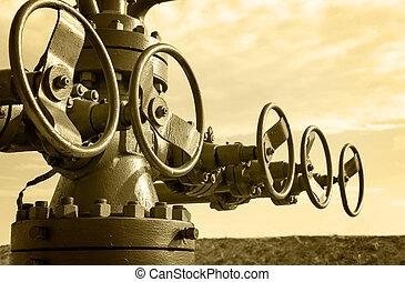 オイル, industry., wellhead., 概念, ガス