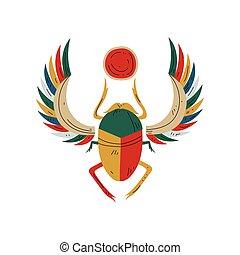 オオタマオシコガネ, エジプト人, シンボル, イラスト, 伝統的である, 文化, ベクトル, 神聖, かぶと虫