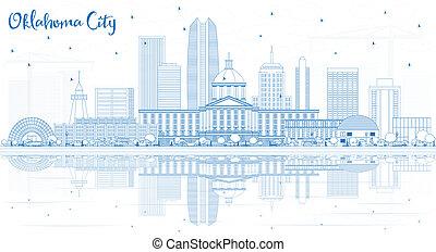 オクラホマ, reflections., 建物都市, スカイライン, アウトライン, 青
