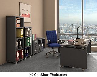 オフィスの内部, イラスト, 3d