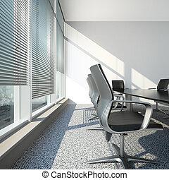 オフィスの内部, ブラインド, テーブル