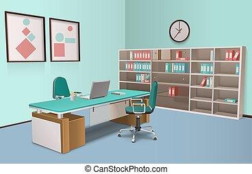 オフィスの内部, 大きい, 現実的, 上司