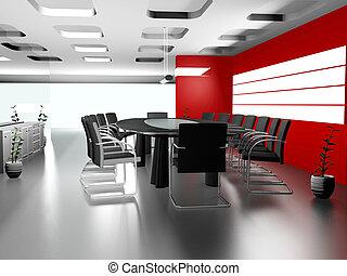 オフィスの内部, 現代, 3d
