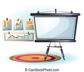 オフィスの目的, イラスト, スライド, ベクトル, 内部, 漫画
