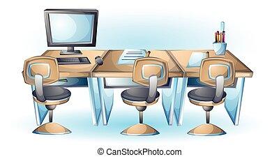 オフィスの目的, イラスト, ベクトル, 内部, テーブル, 漫画
