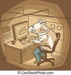 オフィスの 仕事, イラスト, ベクトル, マウス, 漫画