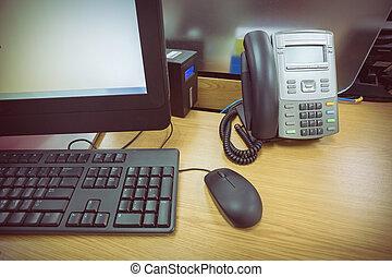 オフィスの 仕事, 電話, pc コンピュータ, テーブル