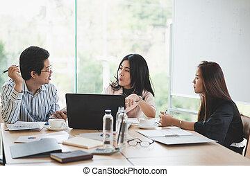 オフィスの 会合, グループ, 労働者, ビジネス