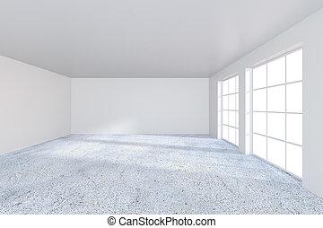 オフィスを空にしなさい, 内部, ∥で∥, concrette, floor., 3d, レンダリング