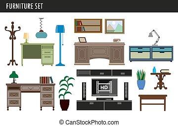 オフィスアイコン, 椅子, 引き出し, ベクトル, 机, 内部, 家, テーブル, 家具