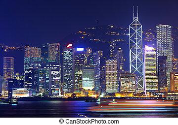 オフィスビル, 中に, 香港, 夜で