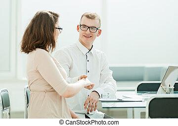 オフィスマネージャー, クライアント, view.handshake, 机, 側