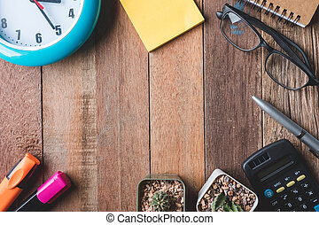 オフィス時計, 光景, テーブル, スペース, ガラス, 木製である, 供給, 無料で, サボテン, 上, テキスト, バックグラウンド。