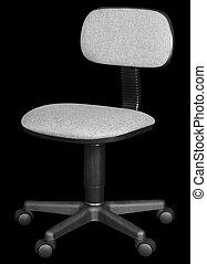オフィス椅子, 隔離された, 上に, 黒