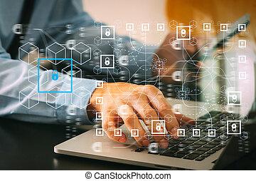 オフィス電話, ビジネスマン, 仕事, コンピュータ, 終わり, 木製である, ラップトップ, 現代, の上, モビール, 机
