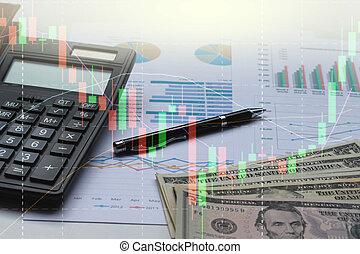 オフィス, さらされること, ビジネス, チャート, ドル, グラフ, 計算機, ダブル, ペン, 机, 背景, 株, ...