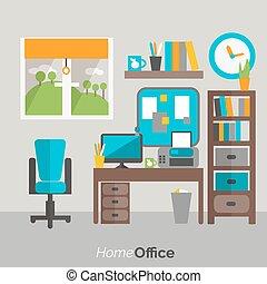 オフィス, アイコン, ポスター, 家具, 家