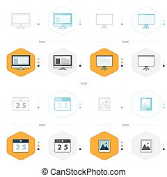 オフィス, イメージ, プレゼンテーション, アイコン, コンピュータ, 4, デザイン, カレンダー