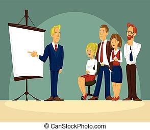 オフィス, イラスト, ベクトル, ビジネスマン, プレゼンテーション, 漫画, 痛みなさい