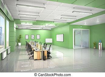 オフィス, イラスト, 開いた, interior., 3d