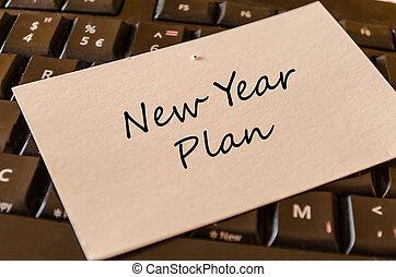 オフィス, キーボード, -, メモ, 計画, 年, 新しい