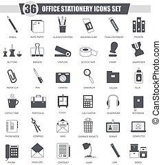 オフィス, クラシック, set., web., 灰色, 暗い, ベクトル, 黒, 文房具, デザイン, アイコン