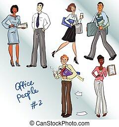 オフィス, クリップ, 人々。, 手, 引かれる, art.