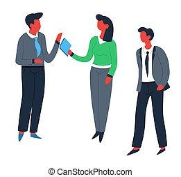 オフィス, コミュニケーション, 労働者, 男性, チームワーク, 従業員, 女性