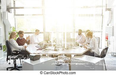 オフィス, コンピュータ, 仕事, ビジネス チーム