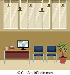オフィス, コンピュータ, 家具, 机