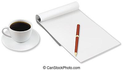 オフィス, コーヒーカップ, notebook.