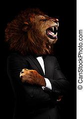 オフィス, スイート, 黒, ライオン, 形式的, 概念, 上司