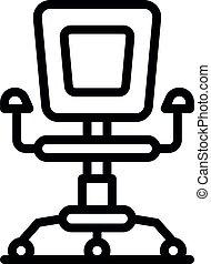 オフィス, スタイル, アウトライン, アイコン, 椅子