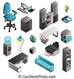 オフィス, セット, アイコン, 内部