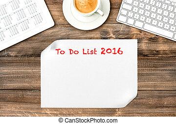 オフィス, タブレット, デジタル, リスト, calendar., 2016., 机