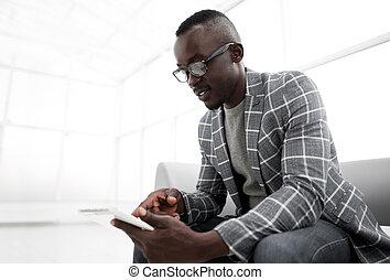 オフィス, タブレット, 明るい, 背景, デジタル, ビジネスマン
