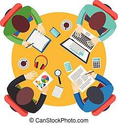 オフィス, チームワーク, ビジネスが会合する